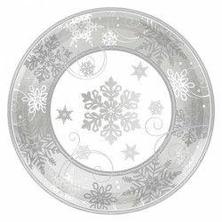 Assiettes carton flocons de neige 18 cm par 8 Déco festive 541559