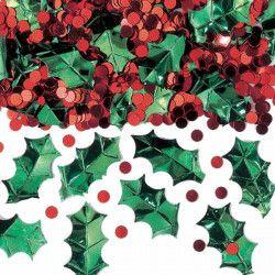 Confettis Noël houx 70 g Déco festive 378634