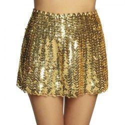 Mini jupe extensible sequins or femme Accessoires de fête 01721
