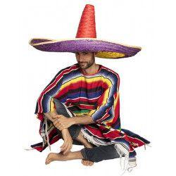 Sombrero mexicain 80 cm Zapata multicolore adulte Accessoires de fête 95473