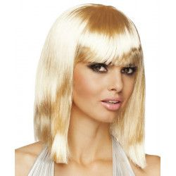 Perruque mi-longue blonde femme Accessoires de fête 85761