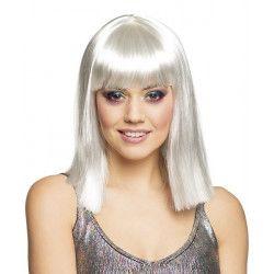 Perruque mi-longue blanche femme Accessoires de fête 85769BO