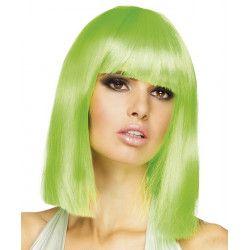 Perruque mi-longue vert néon femme Accessoires de fête 85765