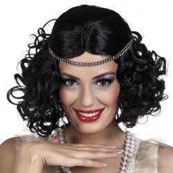 Perruque charleston noire avec bandeau femme Accessoires de fête 85797