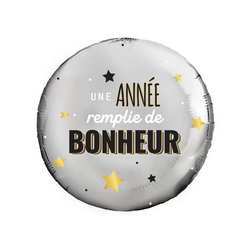 Ballon alu 45 cm - UNE ANNEE REMPLIE DE BONHEUR Déco festive 36500-26