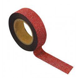 Rouleau ruban adhésif washi tape rose pailleté 10 m Déco festive 80845