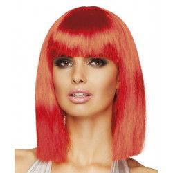 Perruque mi-longue rouge néon femme Accessoires de fête 85762