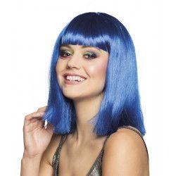Perruque mi-longue bleue femme Accessoires de fête 85768BO