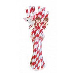 Lot 10 pailles rouges et blanches vintage circus Déco festive 812565