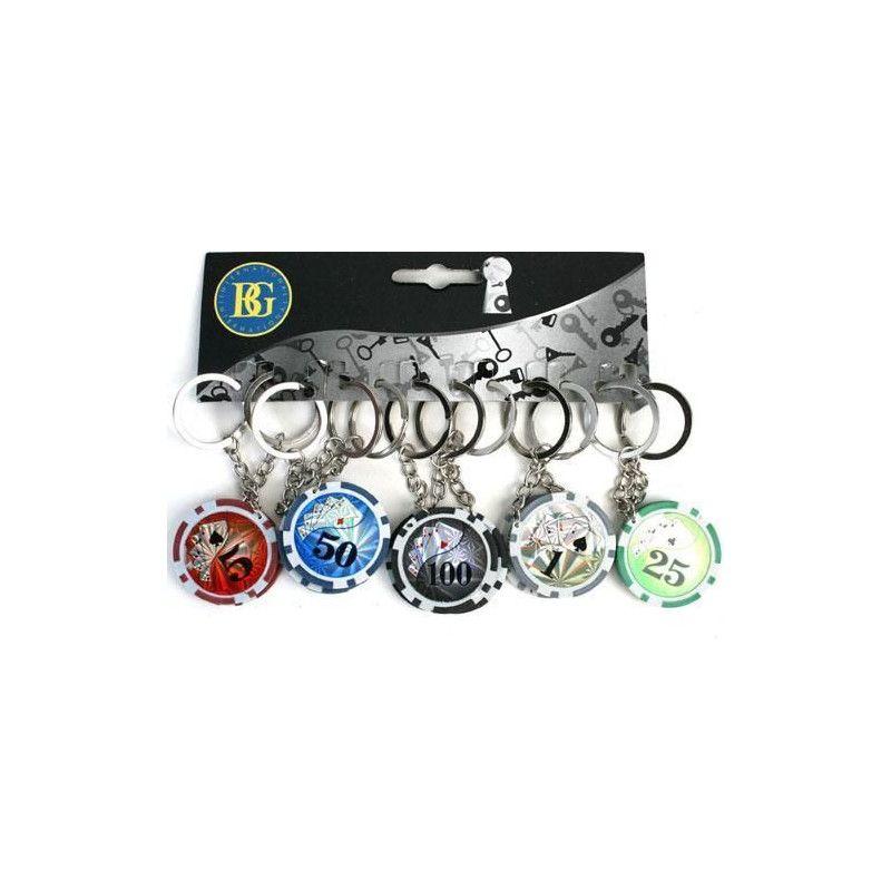 Lot de 12 porte clés jetons poker kermesse. Jouets et articles kermesse 19993