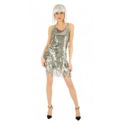 Déguisement robe disco argent femme taille S Déguisements C4319S