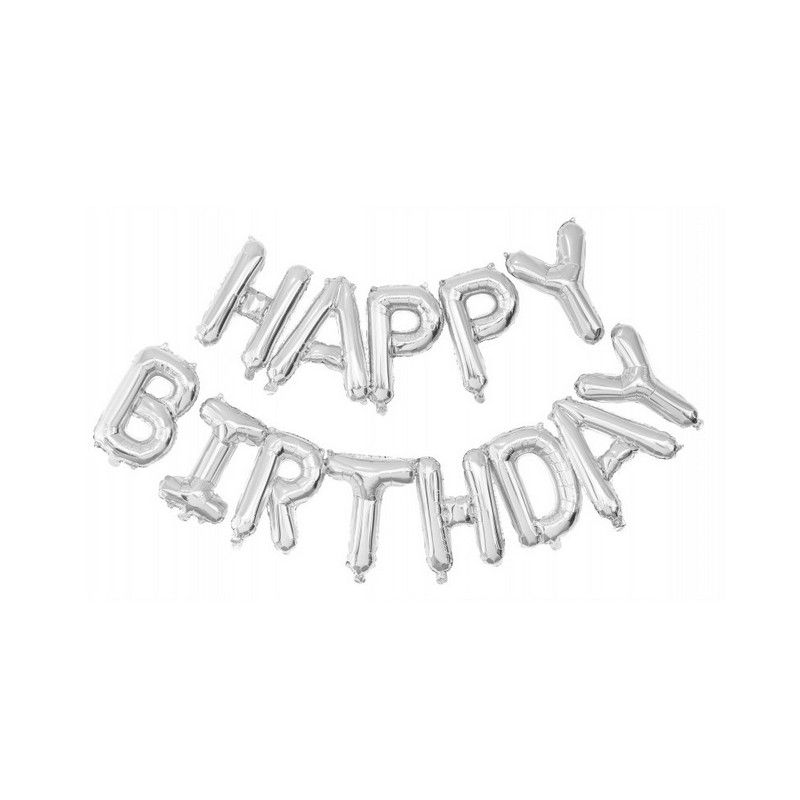 Guirlandes ballons mylar lettres Happy Birthday argent Déco festive 333670