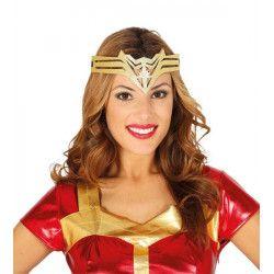Diadème doré super héroïne femme Accessoires de fête 13044