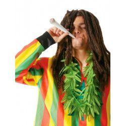 Collier fausses feuilles marijuana vertes Accessoires de fête 16736