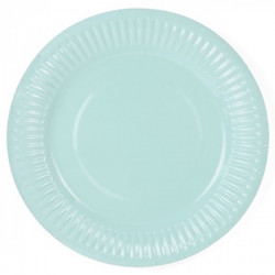 Assiette carton laquée bleue ronde 10 pièces - 23 cm Déco festive 868BE
