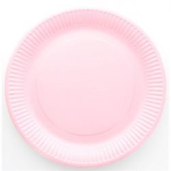 Assiette carton laquée rose ronde 10 pièces - 23 cm Déco festive 868RO