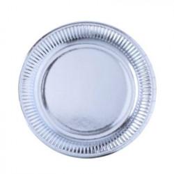 Assiette carton argenté 8 pièces - 23 cm Déco festive 2454AR