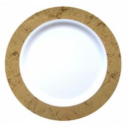 Assiette plastique blanche bord marbré 10 pièces - 26 cm Déco festive 2430OR
