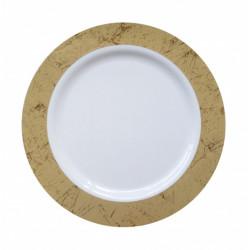 Assiette plastique blanche bord marbré 10 pièces - 18 cm Déco festive 2429OR