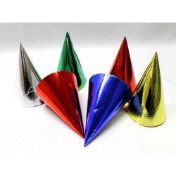 Déco festive, Sachet de 6 chapeaux pointus métallisés, 20206, 0,99€