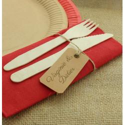 Etiquette rectangulaire avec ruban x 12 - Kraft Déco festive 793NA