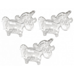 Contenant à dragées licorne plexi 7.5 cm - 3 pièces Déco festive 2465TR
