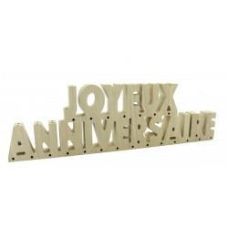 Centre de table Joyeux Anniversaire en bois naturel 40 cm Déco festive 850NA