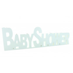 Centre de table Baby Shower en bois blanc 40 cm Déco festive 1224BL