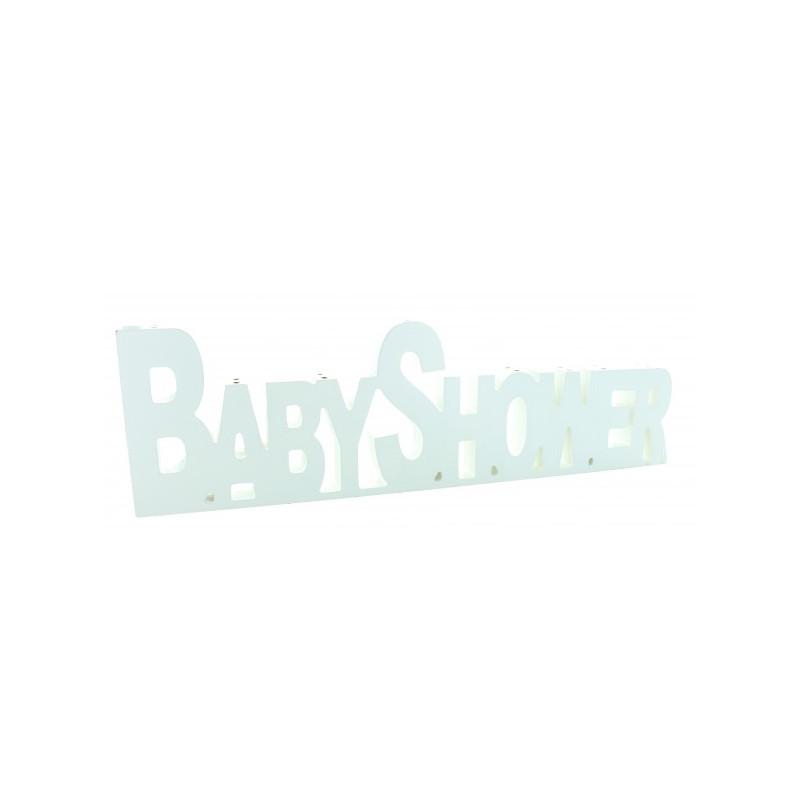 Centre de table Baby Shower en bois blanc 40 cm Déco festive 1224BL