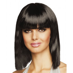 Perruque mi-longue noire femme Accessoires de fête 85760