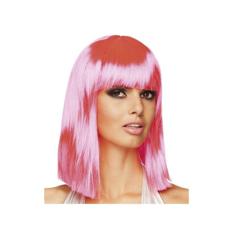 Perruque mi-longue rose néon femme Accessoires de fête 85763