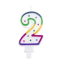 Bougie anniversaire chiffre 2 Confiserie 31062