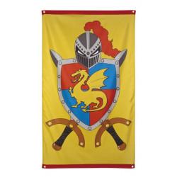 Drapeau chevaliers et dragons 150 x 90 cm Déco festive 44008