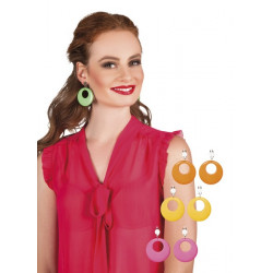 Boucles d'oreilles hippie rondes Accessoires de fête 44516
