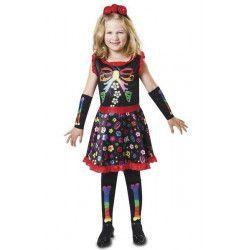Déguisements, Déguisement squelette coloré fille 10-12 ans, 203173, 28,50€