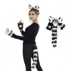 Set accessoires chat noir et blanc adulte - 4 pièces Accessoires de fête 10700