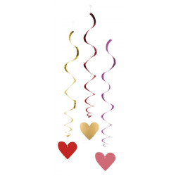 Décoration spirales coeur love x 3 à suspendre 85 cm Déco festive 48002
