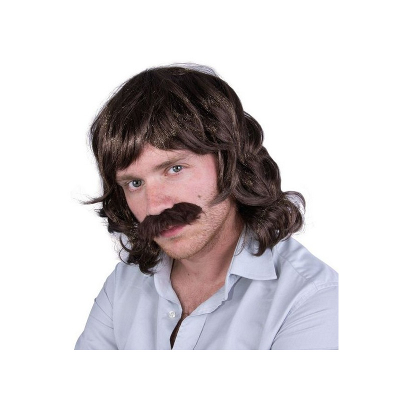 Perruque et moustache John année 80 - Marron Accessoires de fête 96015