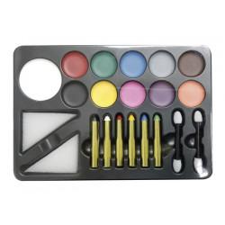 Palette maquillage avec fard-crayons-pinceaux-éponge Accessoires de fête 91012