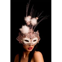 Loup vénitien rose avec sequins, plumes et paillettes Accessoires de fête 00751