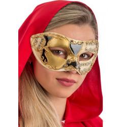 Loup vénitien doré et noir avec décorations Accessoires de fête 01326