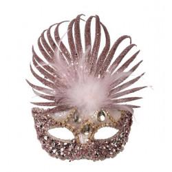 Loup vénitien tissu pailleté rose Accessoires de fête 00756
