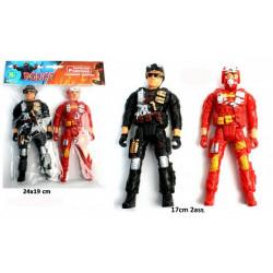 Figurines articulées pompier et police 17 cm Jouets et kermesse 22030BG