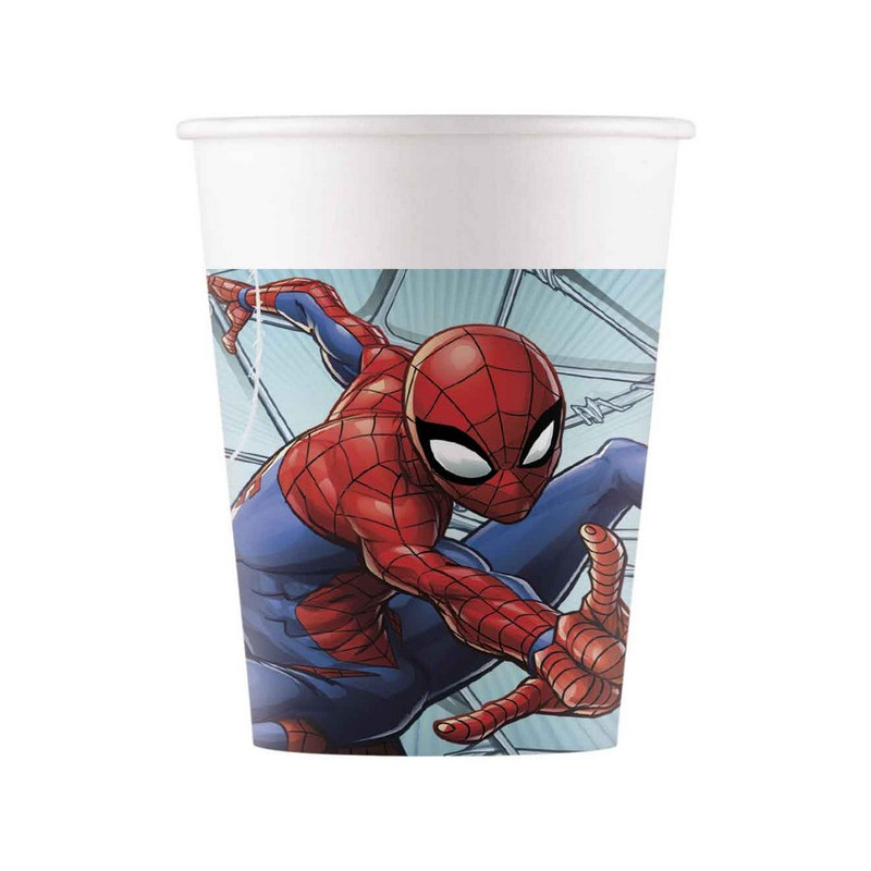 Gobelets carton x 8 Spiderman Team Up™ 20 cl Déco festive LSPI91044