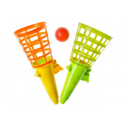 Jeu 2 lance-balles vert-orange 19 cm Jouets et kermesse 6419