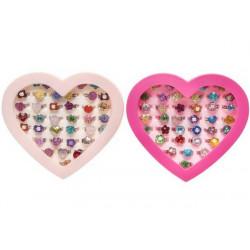 Boîte coeur bagues réglables kermesse vendue par 36 Jouets et kermesse 0431-LOT