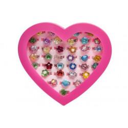 Boîte coeur bagues réglables kermesse vendue par 36 Jouets et articles kermesse 0431-LOT