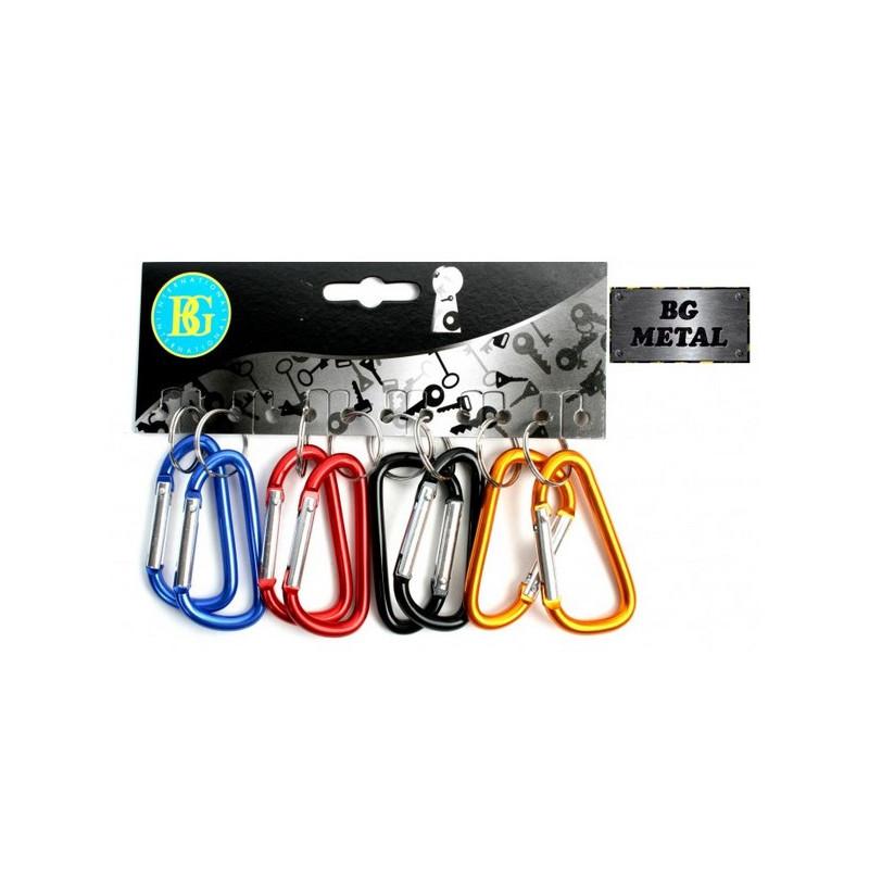 Porte-clés mousquetons métal 6,5 cm vendu par 12 Jouets et articles kermesse 19764-LOT