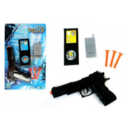 Arme pistolet police 20 cm avec flèches et téléphone Jouets et kermesse 27288