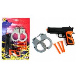 Arme pistolet police 20 cm avec flèches et menottes Jouets et articles kermesse 27301